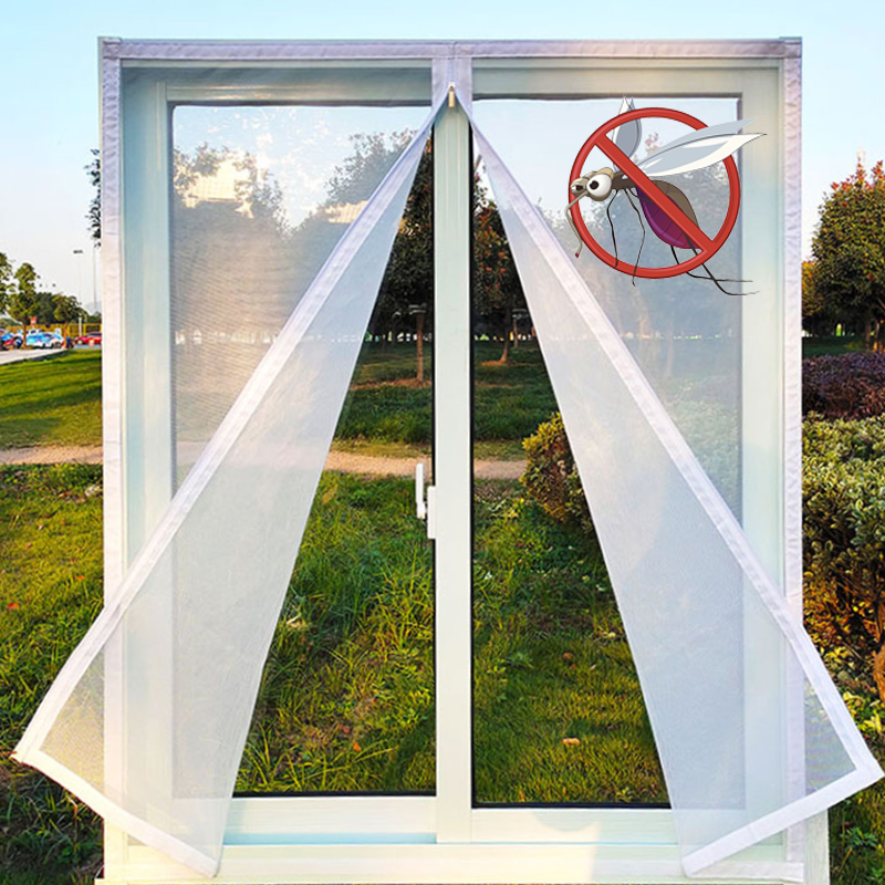 Insect Window Screen Zipper Opening and Closing Self-Adhesive Mosquito-Proof Net Indoor Fly Curtain Mesh Invisible Customizable