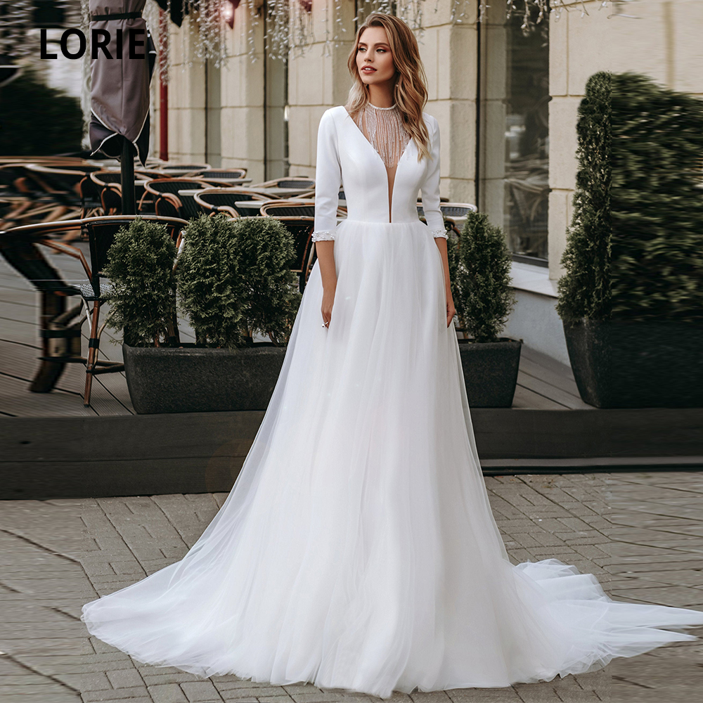 LORIE 3/4 Sleeve Beading Satin Wedding Dresses Boho 2019 V-neck Open Back Tulle Beach Bridal Gowns Simple Cheap Wedding Gowns