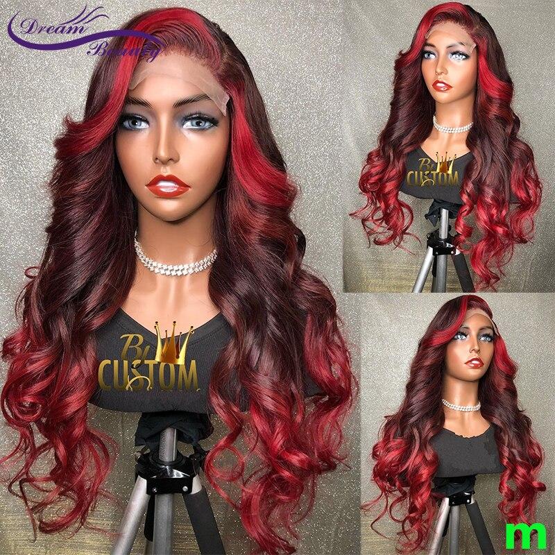 Парики из человеческих волос 13X4 на сетке спереди с эффектом омбре, красные бордовые 180% бразильские парики, парики без повреждений с красным...