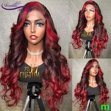 13x4 frente do laço perucas de cabelo humano ombre vermelho borgonha 180% perucas brasileiras remy vermelho ondulado peruca de cabelo para as mulheres preplucked