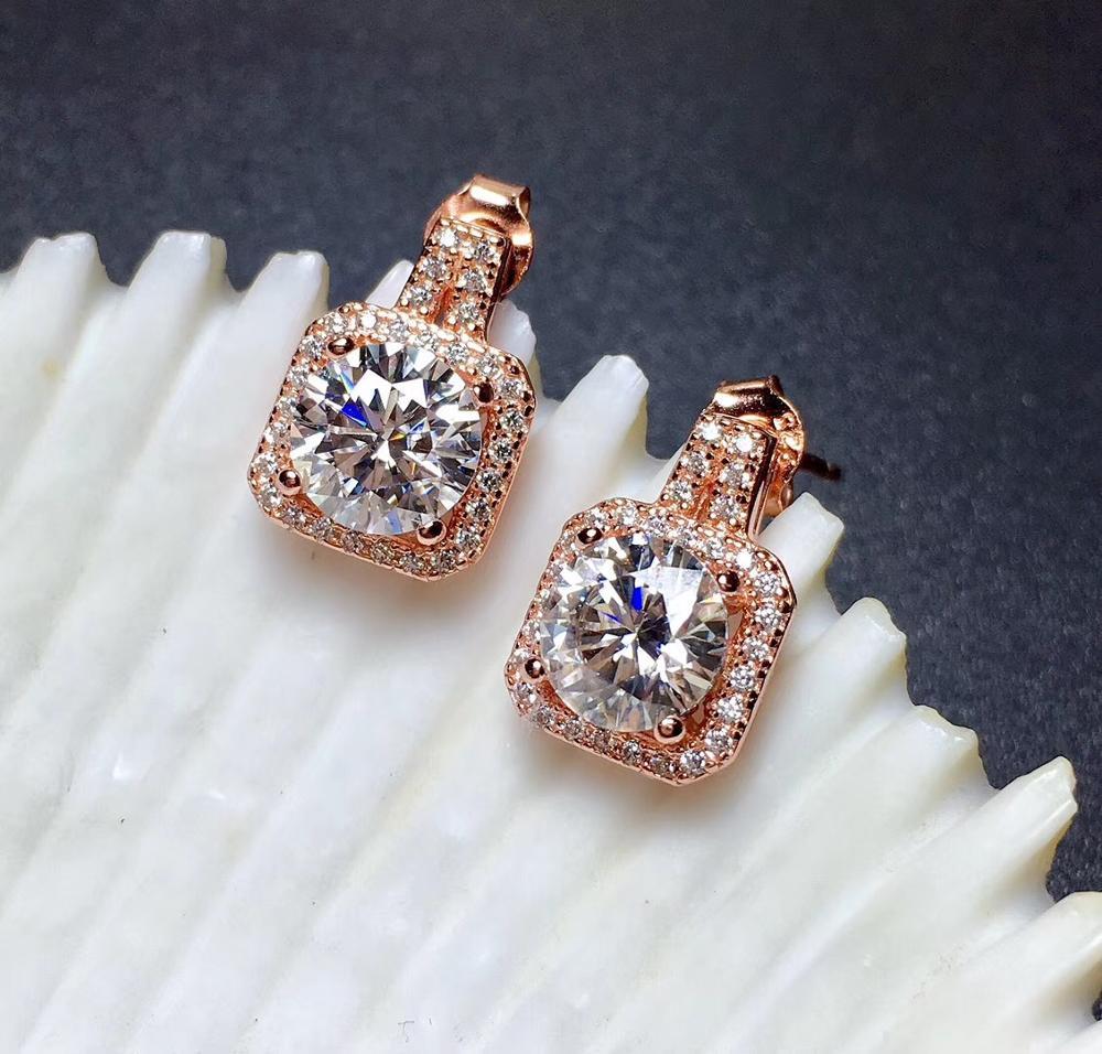 D VVS1 Grade véritable Moissanite boucles d'oreilles authentique 925 pur argent haute qualité pierres précieuses dame boucles d'oreilles bijoux fins