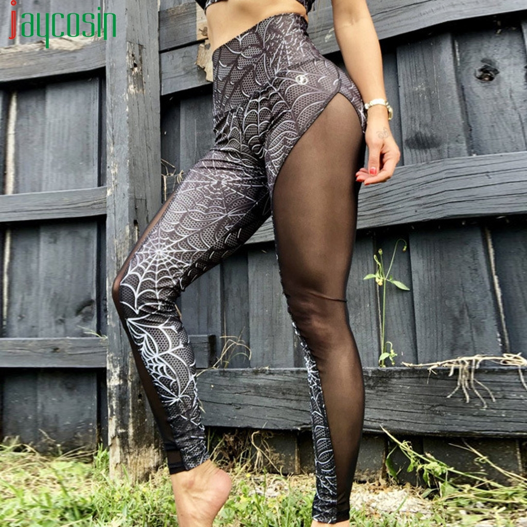 Sports Leggings Women Push Up Gym Fitness High Waist Pencil Pants Spider Web Printing Casual Plus Size Leggings Seamless Pants