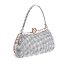 Womens Evening Shoulder Bag Bridal Clutch Party Prom Wedding Glitter Rhinestone Handbag Chain Crossbody