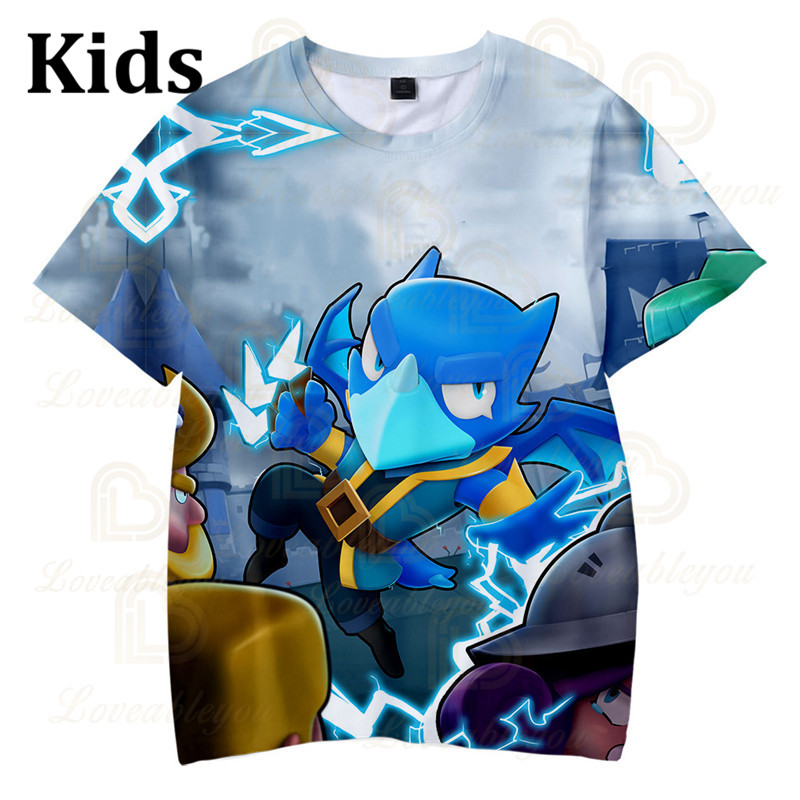 Cute Crow Shoot Brawling Game 3D Print T-shirt Men Clothing Harajuku T Shirt Women Kids Star Leon Tops 2020 Shirt Boys Girls