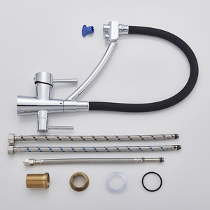 Image 5 - Uythnerキッチン浄化柔軟な回転台所の蛇口デュアルスパウトデュアルミキサータップハンドルホット & コールド純水ミキサー