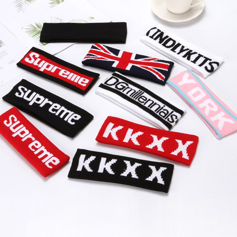 28 Colors Adult Kid Harajuku Sport Headband Colored Striped Letter Hip-Hop Athletic Sweatband Knitted Face Wash Hair Accessories