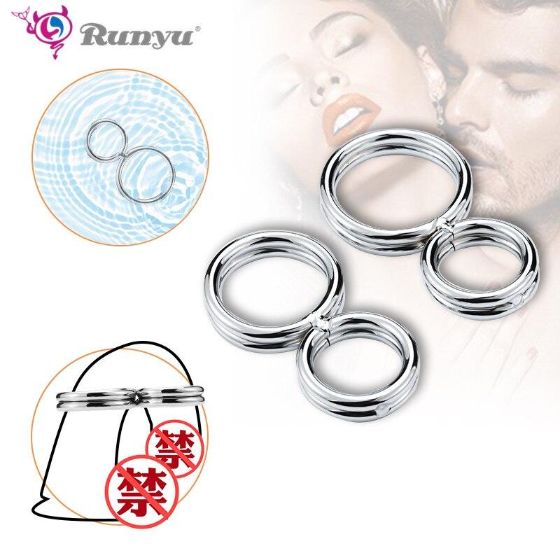 Anillo de Metal con 8 formas para pene para hombre, cinturón de castidad, anillo de retraso para pene, 32mm, 38mm