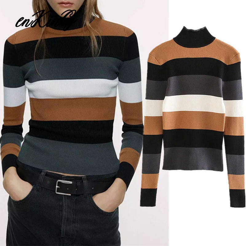 2019 Winter Sweaters Women Pull Femme England Style Sheath Simple Colorful Striped Basic Za Sweaters Women Pullovers Tops