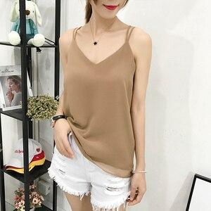Image 2 - Korean Fashion Chiffon Women Camis Streetwear Sexy Tops Lace Sleeveless Black Female Tank Tops Plus Size XXXL/4XL Pink Shirt