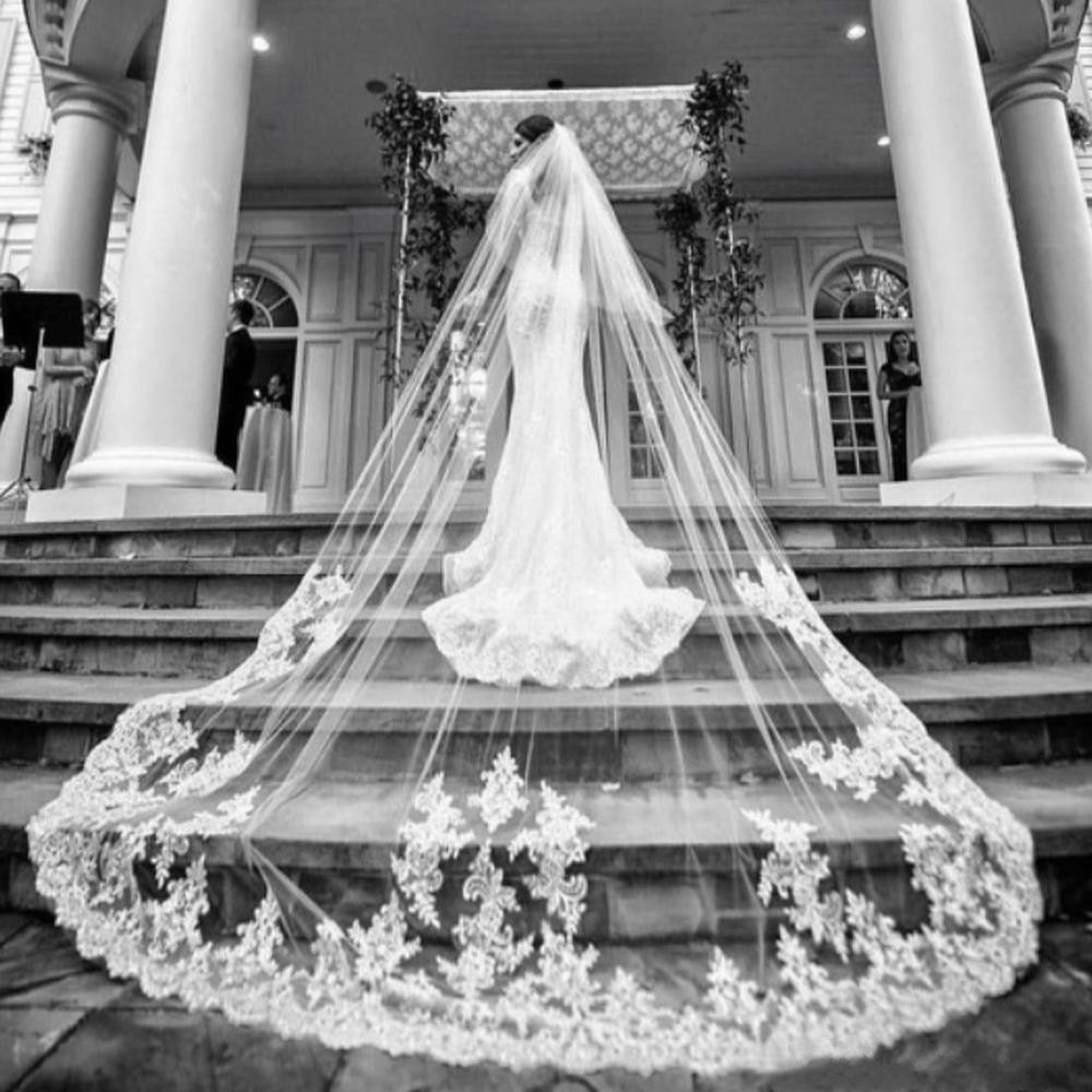 In Stock Bridal Veils Luxury White Ivory Cathedral Length Wedding Veil Bride Veils Bridal Hair With Free Combs Cover Face