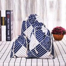 1шт случайных женщин хлопка шнурок хозяйственная сумка Eco многоразовые складной продуктовый ткань нижнее белье чехол путешествия домой мешок хранения