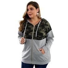 Summer Oversized Elegant Camouflage Stitching Hooded Jackets Women Vintage Metal Zipper Full Sleeve Coats Tops Vacation Hoodies