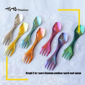 TiTo titanium spork Outdoor camping fork titanium spoon knife combo hiking  picnic survival  outdoor tableware Titanium цена 2017