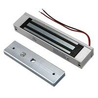 Abkt-única porta 12 v elétrica eletromagnética fechadura 180 kg (350lb) força de retenção para controle de acesso prata