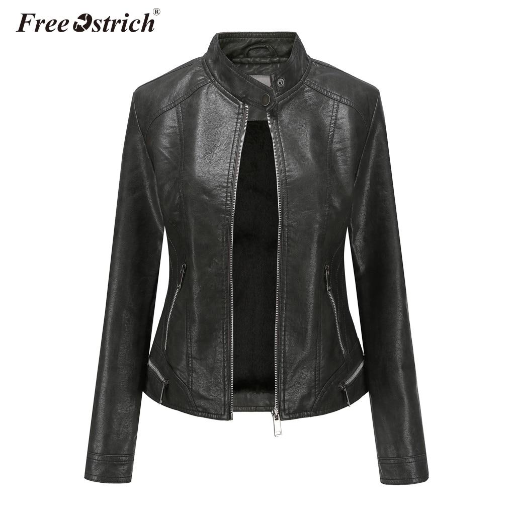 Free Ostrich 2019 New Women   Jackets   Coat Faux Leather Zipper Slim Casual Outerwear Coats Long Sleeve   Basic     Jackets   Streetwer N30