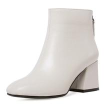 Genuine Leather Ankle Boots Women Hoof Heel Autumn Lady High Heels Shoe