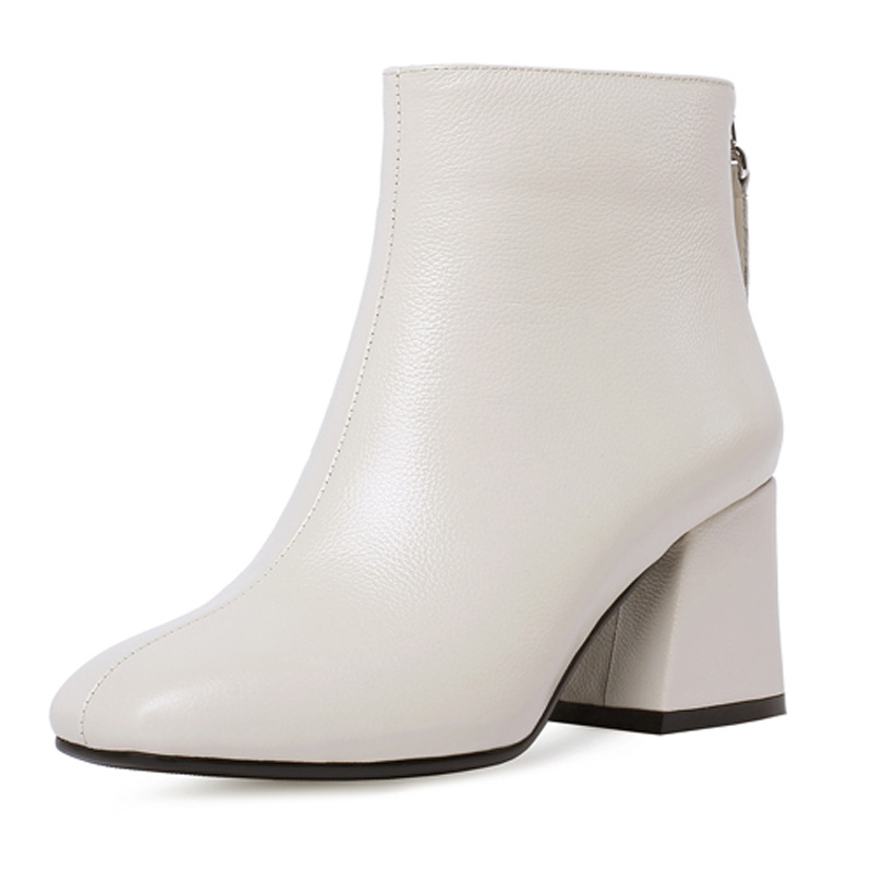 Genuine Leather Ankle Boots Women Hoof Heel Autumn Lady High Heels Shoes A263 Fashion Woman Square Toe Zipper Black Beige Boots