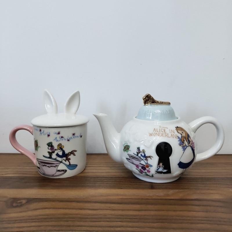 Милый мультяшный чайник Алиса в стране чудес, кружка, керамический чайник, набор чашек, креативный Рождественский подарок, быстрая доставка