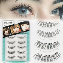 5 Pairs False Eyelashes Natural Makeup 3d Short Wispy Mink Fake Lashes Slim Eyelash Extension Light Easy Fan Eye Lashes