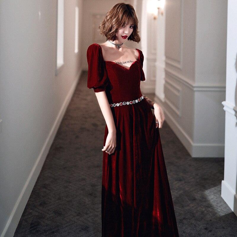 2020 Rushed Tapete Cozinha Celebrity Dress Toast Bride 2020 New Autumn High-end Temperament Dress Simple Atmosphere Velvet Long