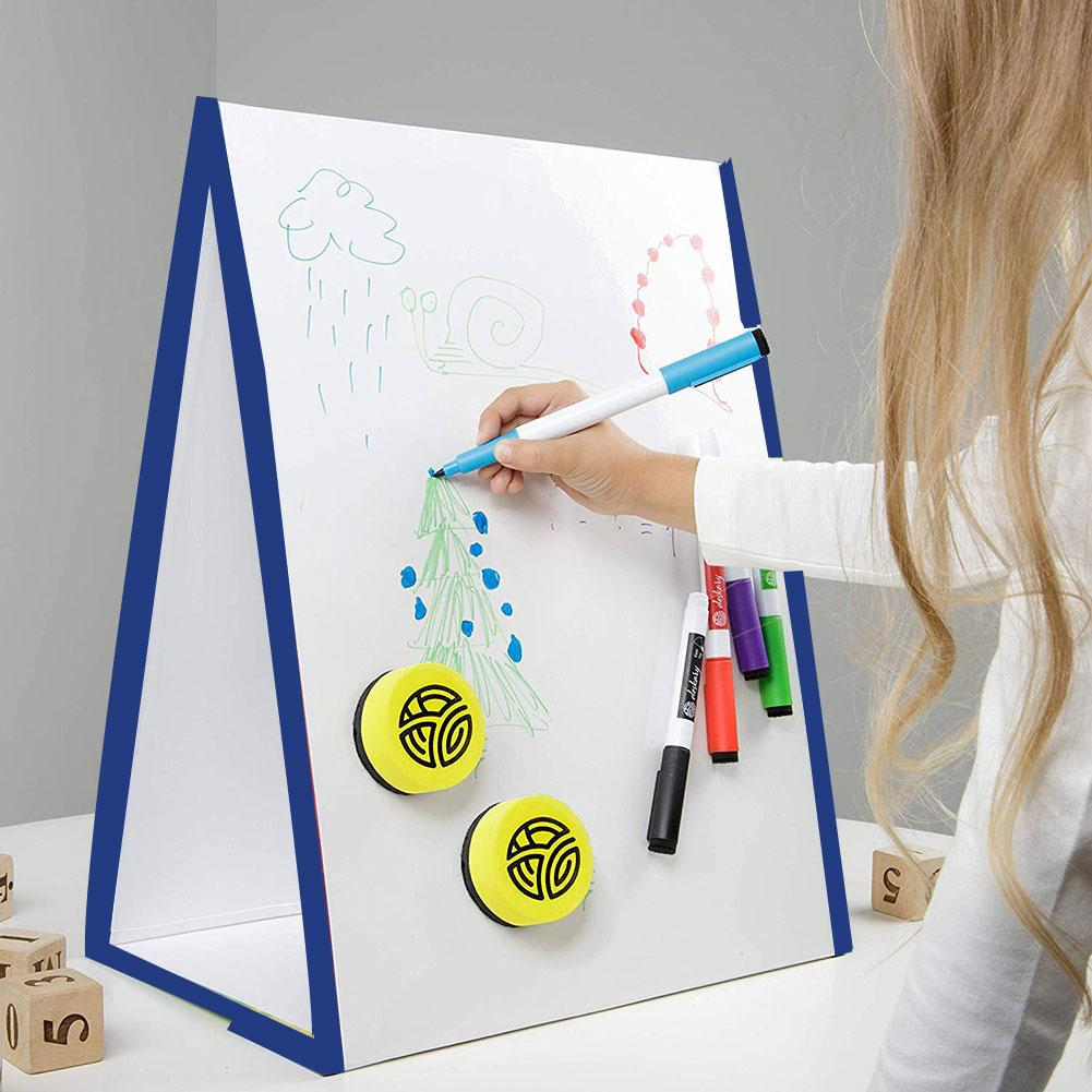 Folding Magnetic Triangle Self Standing White Board Kids Writing Drawing Tool