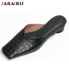 SARAIRIS New Cool Spring Summer Square Toe Mules Fretwork Genuine Leather Mules Women Casual slip-on Low Heel Shoes Woman(China)