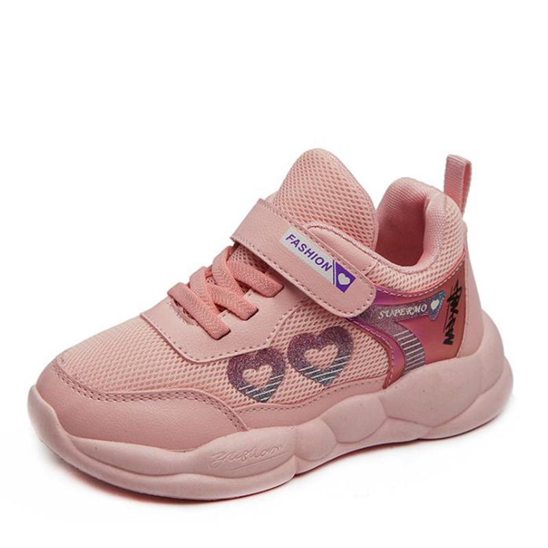 Girls' Sneakers Spring 2020 Children's Mesh Fashion Fabric Breathable Little Girls' Casual Shoes Size 26-37