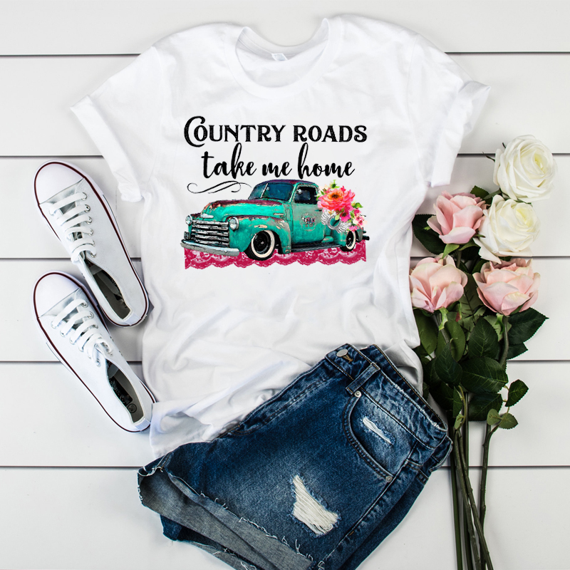 Women Graphic T-shirt  Cute Short Sleeve Female Printed Country Road Take Me Home Flower Truck Camisas Mujer Womens T-shirt