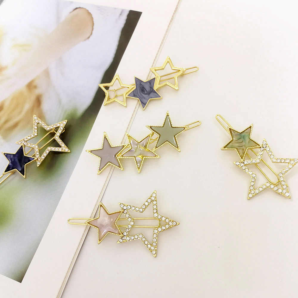 Women Star Hairpin Acetate Metal Hollow Hair Clips Barrette Girl Headwear Jewelry Hair Accessories for Women