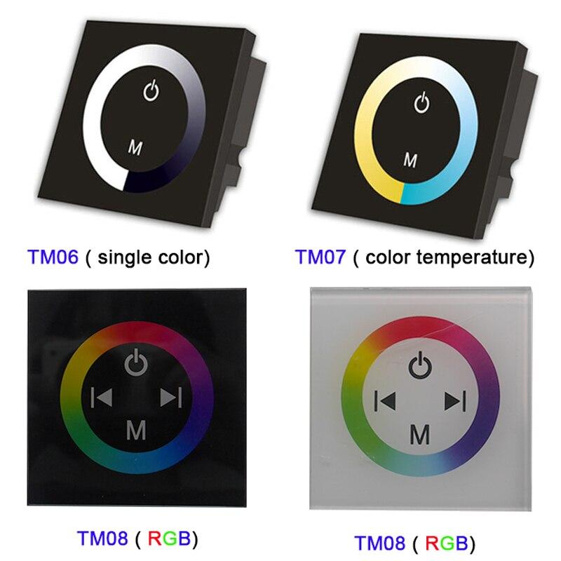 Color : Negro DC12-24V Panel De Control T/áctil De Pared Panel De Control LED Interruptor De Regulador Cambio De Brillo para La Luz De Tira LED