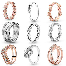 2021New Products Fashion 925 Sterling Silver & Rose Gold Color Daisy Flower Ring For Women Original 925 Silver Rings Brand Jewel