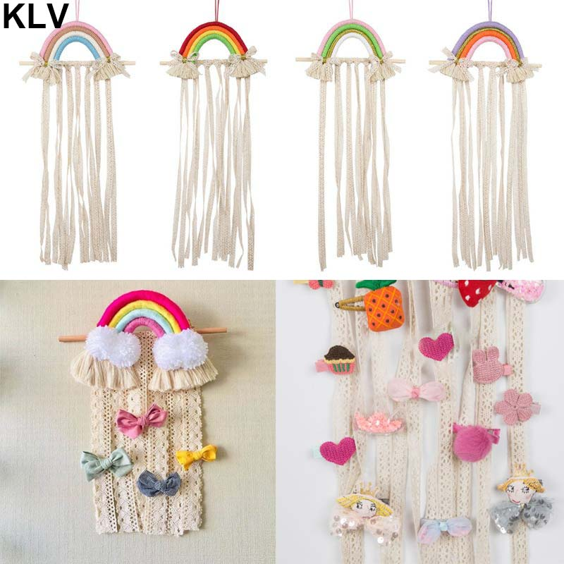 Nordic Woven Rainbow Children Hair Clip Storage Holder Headwear Organizing Strip Wall Hanging Headdress Finishing Rack Decoratio