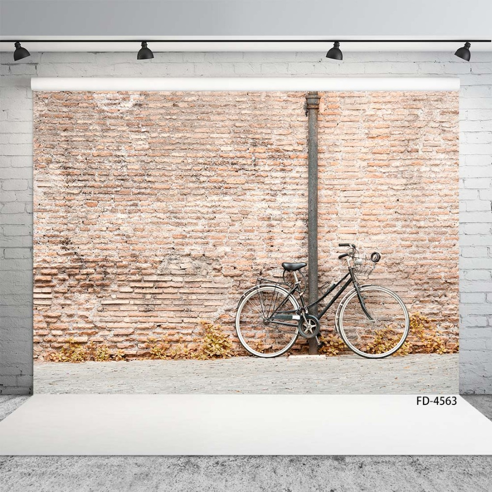 Autumn Brick Wall Bicycle Street Cement Floor Scenery Backgrounds Children Young Portrait Photography Backdrops For Photo Studio Background Aliexpress
