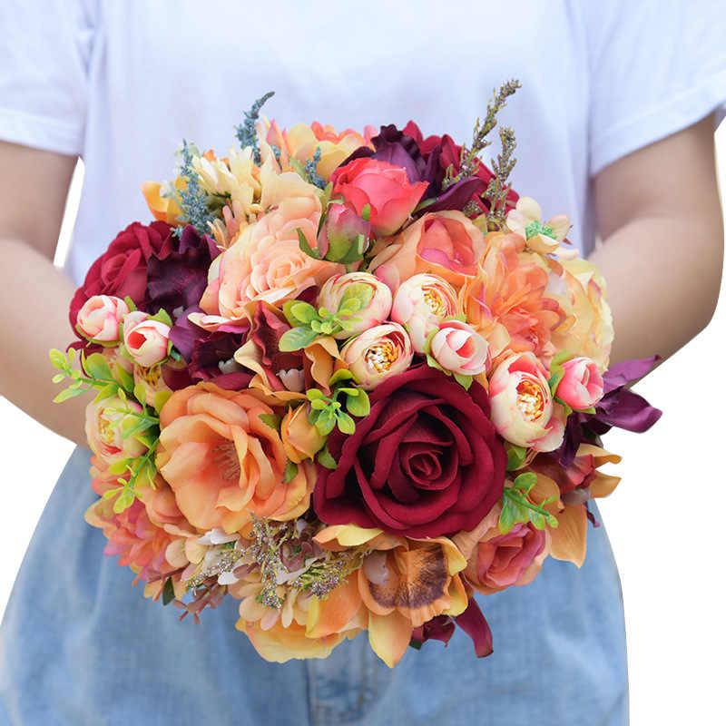 الشاي البرتقالي موضوع الوردي رومانسية الأرجواني الزفاف داليا الزهور باقات الزفاف راموس دي نوفيا السرو زهرة وصيفة الشرف PH012