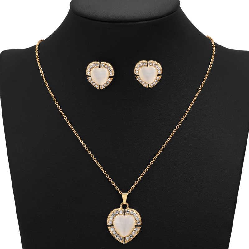 Hesiod Waterdrop จี้สีทองยาวสร้อยคอสร้อยคอต่างหูชุดเครื่องประดับสำหรับเครื่องประดับงานแต่งงานของผู้หญิง