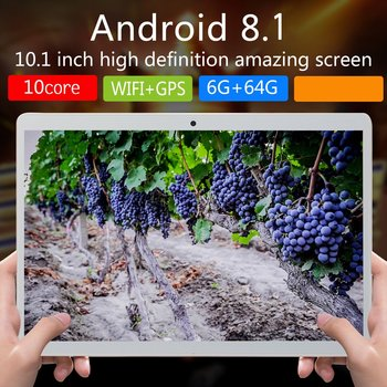 V10 Classic Tablet 10.1 Inch  Large Screen Android 8.10 Version Fashion Portable Tablet 6G+64G White Tablet White EU Plug
