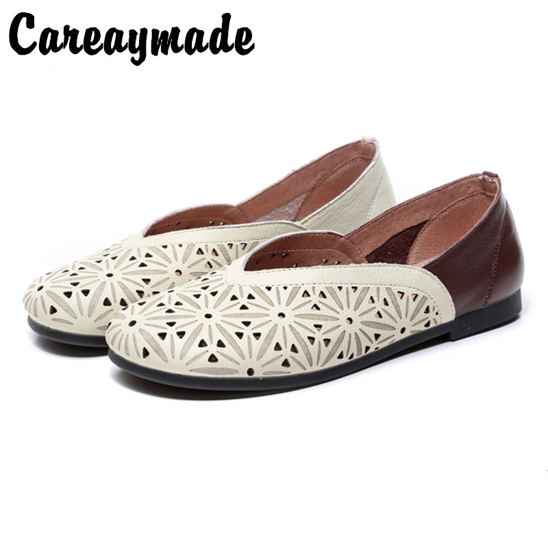 Careaymade-Spring pure handmade Genuine leather shoes, a new vintage artist with round head and comfortable womans shoes