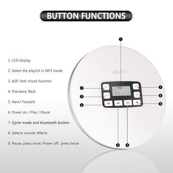 HOTT CD611T Portable Bluetooth CD Player LCD Display Anti-Shock CD Music Car BT Music White Color