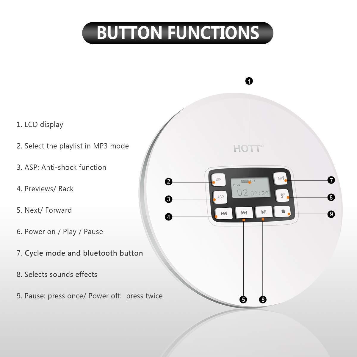 HOTT CD611T Portable Bluetooth lecteur CD LCD affichage Anti-choc CD musique voiture BT musique couleur blanche