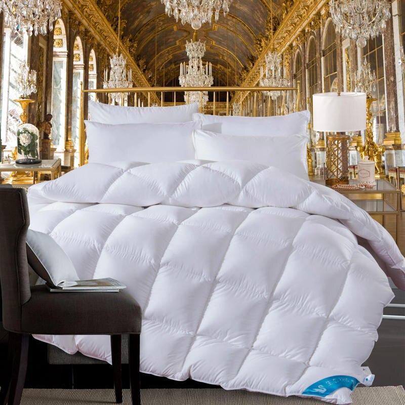 Белый/розовый/желтый гусиный пух couette зимнее одеяло двойной/полный размер одеяло 150X200 см/180x220 см/200x230 см/220x240 см/X см