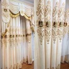 Luxo europeu cortinas para sala de estar veludo sheer impressão ouro alta sombreamento janela cortinas para sala jantar quarto
