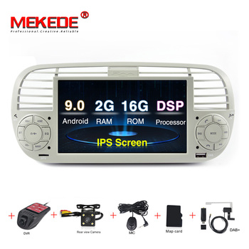 MEKEDE IPS DSP 1024X600 Car GPS Android 9.0 Bluetooth Quad Core Car Dvd media Player FOR FIAT 500 Vehicle Radio Multimedia