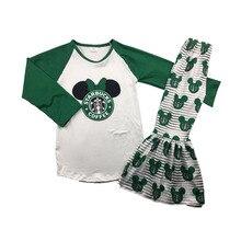 Heißer verkauf mädchen grün raglan shirt mit hosen langarm cartoon beliebte stil boutique mädchen kleidung