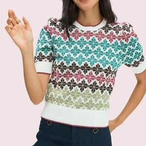 Женский тонкий трикотажный свитер с коротким рукавом, с круглым вырезом и жаккардовым узором, уличная одежда, для лета, 2020