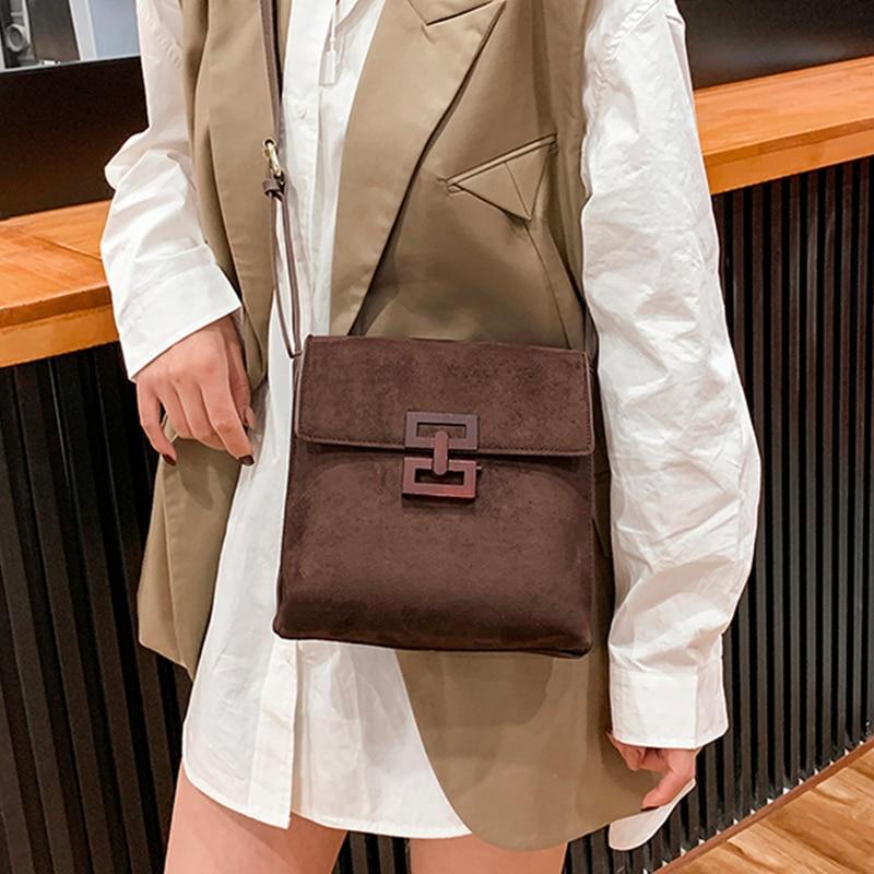 Купить замшевые сумки через плечо для женщин 2020 классическая текстурная