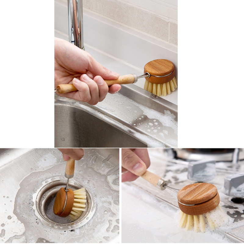 Long Handle Pan Pot Brush Dish Bowl Washing Cleaning Brush Natural Wooden Household Kitchen Cleaning Tools