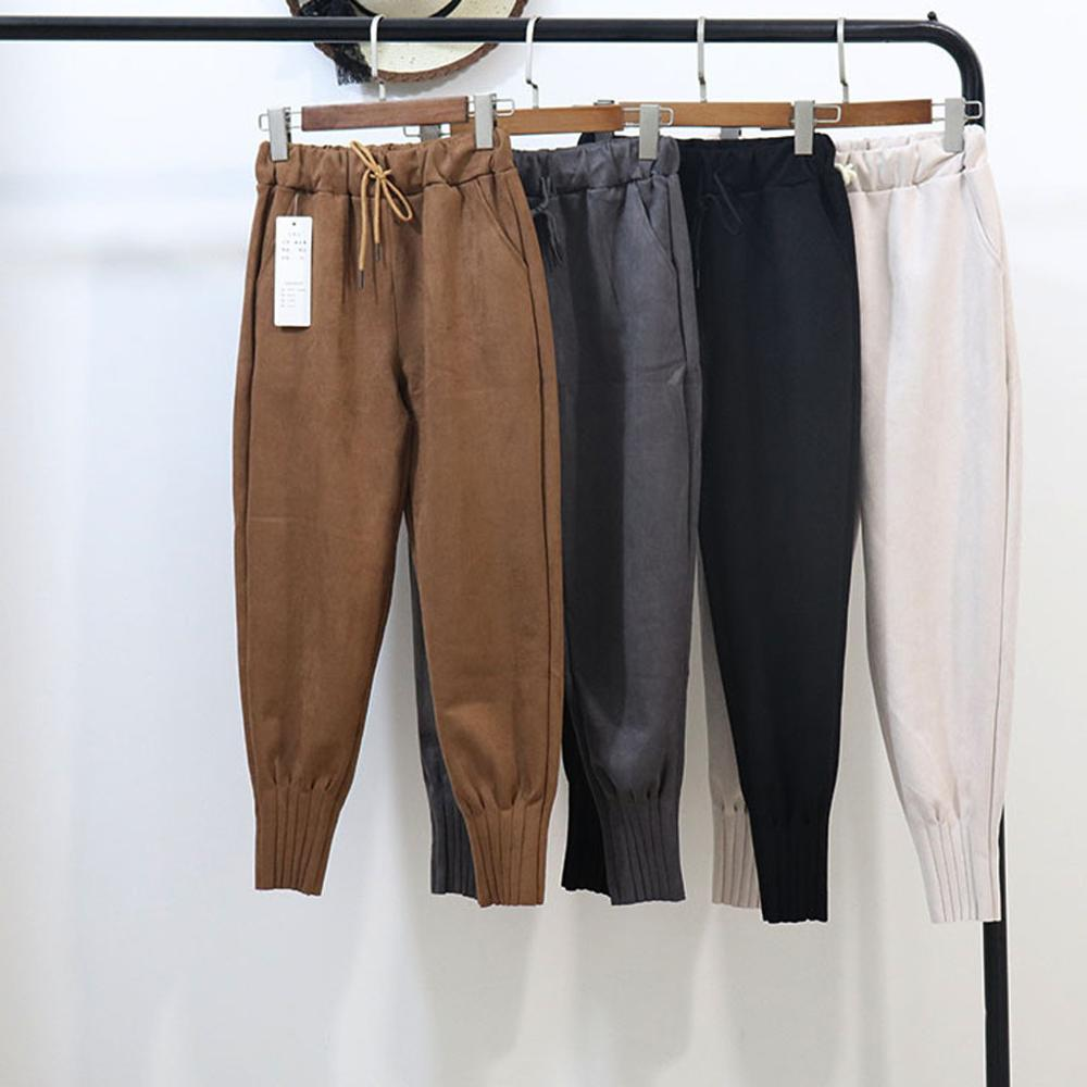 Women Spring Suede Harem Pants High Waist Elastic Pockets Harem Pants Casual Autumn Loose Plus Size Trousers Streetwear