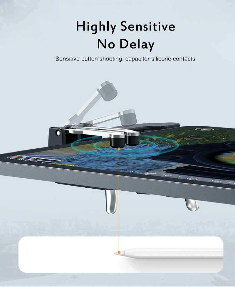 Nova quente h11 pubg gamepad controlador seis dedo jogo manche punho para ipad tablet l1r1 botão de fogo alvo chave pubg gatilho