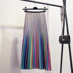 Image 4 - Marwin 2019 Spring New Coming Women Skirts Rainbow Striped A line Mid Calf Skirts High Street European Style High Quality Skirts