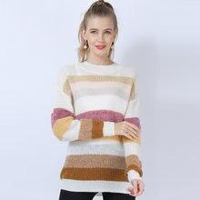 Женский Шерстяной Свитер оверсайз винтажный вязаный пуловер